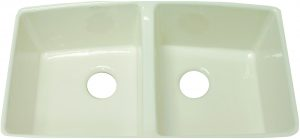 "Brookfield 33"" equal double bowl undermount cast iron sink."