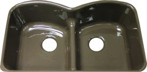 Langlade Smart Divide double bowl undermount cast iron kitchen sink.