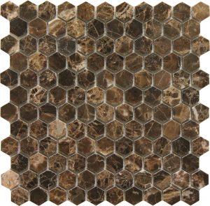1x1 Hexagon Dark Emperador