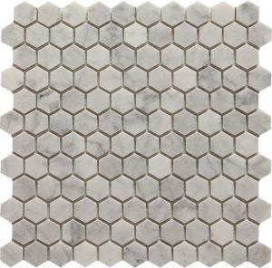 1x1 White Carrera Hexagon