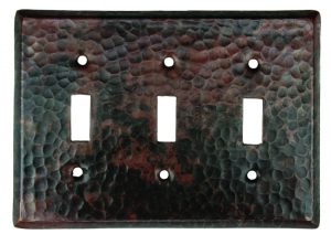 Triple Light Switch Copper Plate Cover