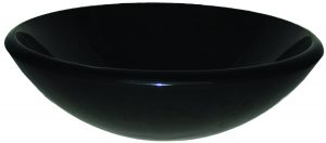 Black Glass Round Vessel